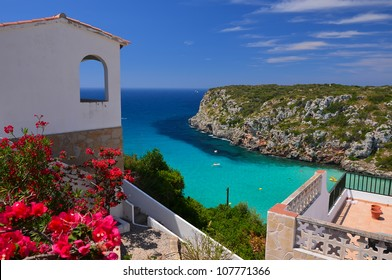 Beautiful Cala Porter bay seen from cliff viewpoint, Menorca, Balearic Islands, Spain