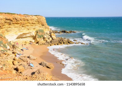 Beautiful Calas de Roche beach in Conil de la Frontera, Cadiz, Spain