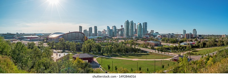 Beautiful Calgary city skyline from scotsman's hill on a sunny day, Canada. Shining Sun. Panarama 2019