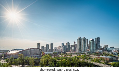 Beautiful Calgary city skyline from scotsman's hill on a sunny day, Canada. Shining Sun. Calgary Down Town 2019