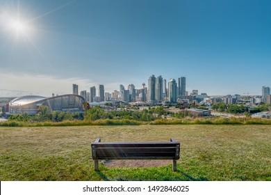 Beautiful Calgary city skyline from scotsman's hill on a sunny day, Canada. Shining Sun. Calgary Down Town 2019