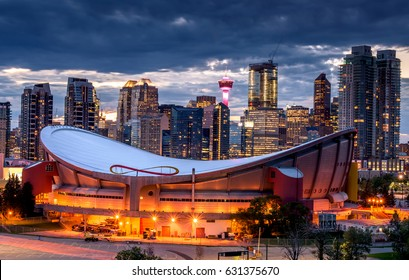 Beautiful Calgary skyline at night, Alberta, Canada