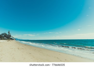 Beautiful California beach with clear blue sky and space for general usage. Minimalist, Wallpaper, Background concept.