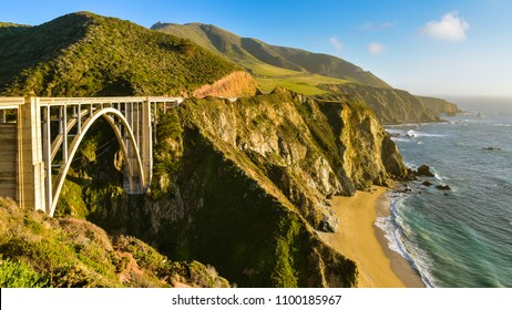 Beautiful California Coast and the Famous Bixby Creek Bridge - Big Sur, Monterey County, California