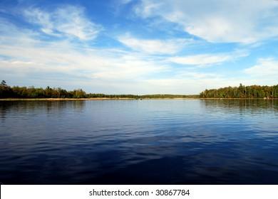 Beautiful calm day on Sugar Lake in northern Minnesota