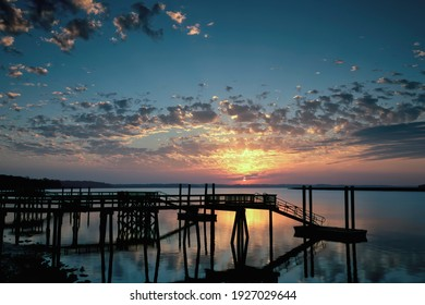 """A beautiful calm June evening in the South Carolina """"Lowcountry"""". Image captured  just before sunset along the Colleton River tidal estuary in Beaufort County, near the town of Bluffton."""