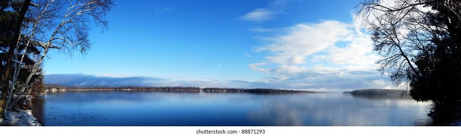 Beautiful calm lake in northern minnesota on a crisp november morning