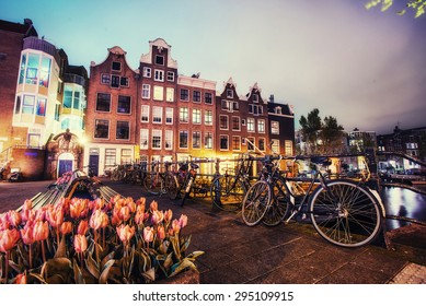 Beautiful calm night view of Amsterdam city.