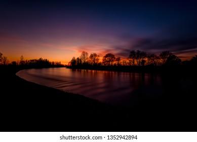 beautiful calm water flow landscape