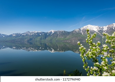 Beautiful calm water of Kootenay Lake in British Columbia, Canada, creating a mirror like reflection of the snow capped Selkirk Mountains across the water on a sunny Spring day.