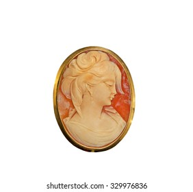 Beautiful Cameo Pin on a white background