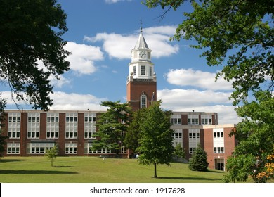 Beautiful campus clocktower with cloudy sky