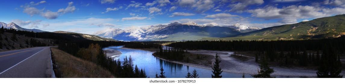 Beautiful Canadian Landscape, Alberta, Canada, panoramic view