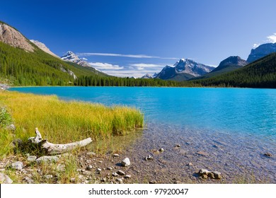 Beautiful Canadian Landscape: Waterfowl Lake with turquoise blue water, Rocky Mountains and Clear Sky. Photo was taken on sunny day of summer in Banff National Park, Alberta, Canada