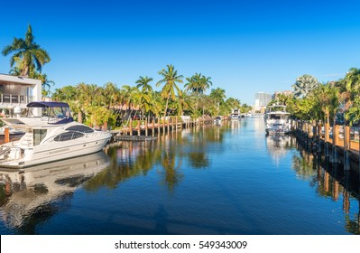 Beautiful canal of Fort Lauderdale, Florida.