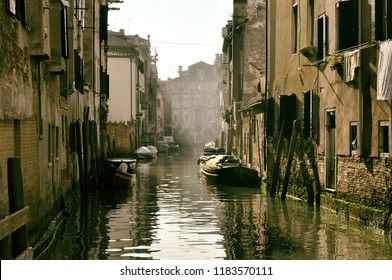 Beautiful canal of Venice with boats
