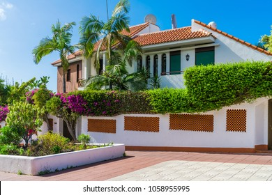 Beautiful Canarian house decorated with bright folwers in Puerto de la Cruz, Tenerife, Canary Islands