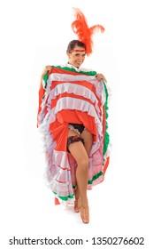 Beautiful cancan dancer lifts up the skirt flirting