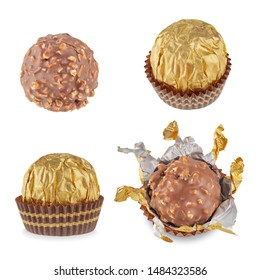 Beautiful candy in the shape of a sphere in a Golden wrapper in a paper skirt, isolated on white with shadows. Full sharpness across the surface. The mix of the four perspectives of candy.