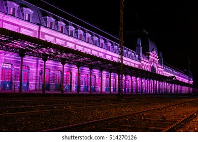 Beautiful Canfranc railway station at night
