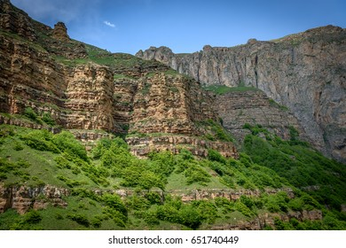 Beautiful canyon mountains and hills in the north of Azerbaijan near Quba in the village Khinaluq