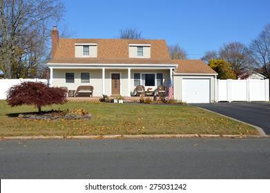Beautiful Cape Cod style home autumn day clear blue sky  Japanese Elm Tree residential neighborhood USA