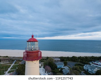 The Beautiful Cape May Lighthouse on the New Jersey shore as seen from an aerial drone image