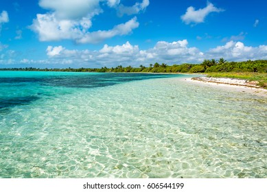 Beautiful Caribbean Sea landscape in the Sian Kaan Biosphere Reserve near Tulum, Mexico
