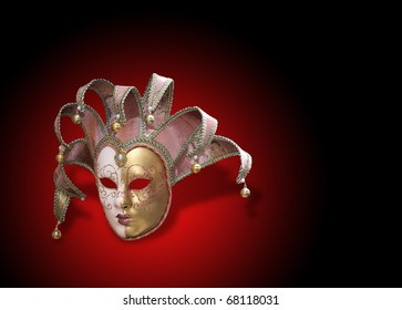 Beautiful carnival mask from venice Italy over dark red background