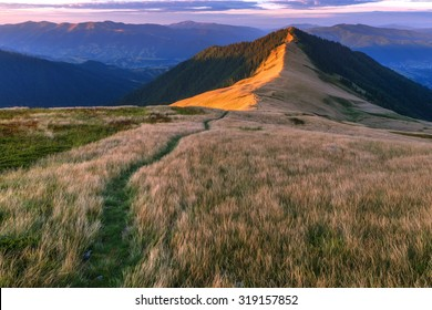 Beautiful Carpathian mountains in autumn time. Pishkonia range, Ukraine, Europe.