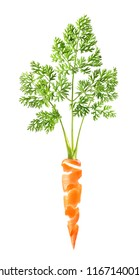 Beautiful carrot skin on a white background