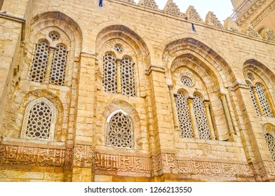 The beautiful carved arabian scereen loumted in the windows of Qalawun Complex in Cairo, Egypt