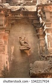 Beautiful carving of dancing girl at Kailasha Temple, Ellora Caves, Maharashtra, India