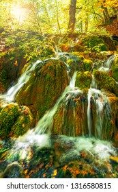 beautiful cascades in Plitvice lakes national park in forest on sunny autumn day, Croatia