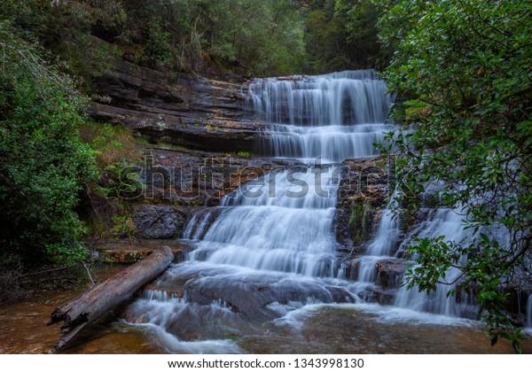 Beautiful ,cascading,Lady Barron Falls.Mount Field National Park.Central Highlands of Tasmania,Australia.