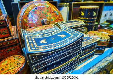 The beautiful caskets and souvenir boxes with elephants and fine floral patterns, made of wood and in traditional lacquer technique, Bogyoke Aung San Market, Yangon, Myanmar