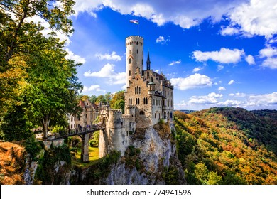 Beautiful casles of Germany- impressive Lichtenstein castle over rock
