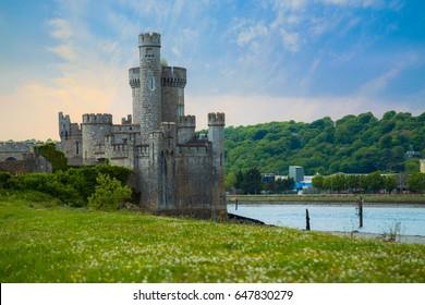 Beautiful castle in Ireland. blackrock.  Beautiful castle blackrock in Cork Ireland, Delightful sunset, A small port in Ireland
