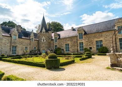The beautiful Castle Park Rochefort en Terre in the medieval village of Rochefort-en-Terre, Morbihan department in the Brittany region. France