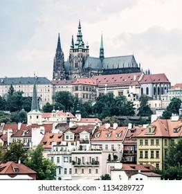 Beautiful castle in Prague, Czech republic. Travel destination. Cultural heritage. Beautiful place. Blue photo filter.