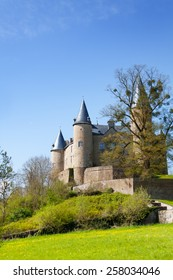 Beautiful Castle of Veves with grass and trees