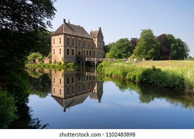 The beautiful castle Vorden in the village of the same name in the Achterhoek, reflecting in its moat