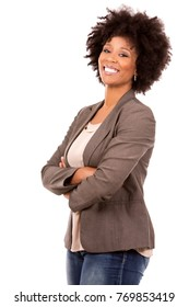 beautiful casual black woman wearing office wear on white isolated background