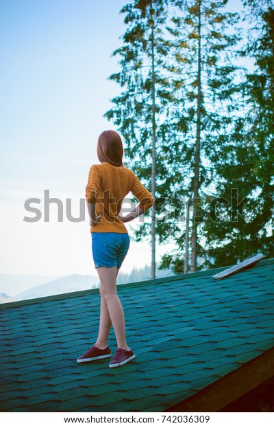 Beautiful Casual Fashion Lady On Roof Stock Photo Edit Now 742036309