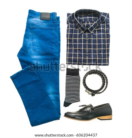 85a9d7c61fed Beautiful casual men fashion and clothes set with Shirt Jeans Pants Leather  shoes and Accessory isolated