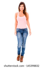 Beautiful casual woman walking - isolated over a white background