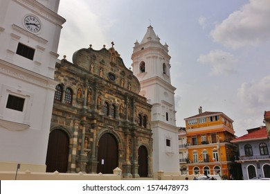 Beautiful cathedral Basilica of St. Mary in Casco Viejo/Casco Antiguo, the Spanish old town of Panama City. Religious landmark at the Main square (Plaza Mayor).
