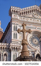 The beautiful cathedral in Florence, Il Duomo or Cattedrale di Santa Maria del Fiore, on a bright summer day