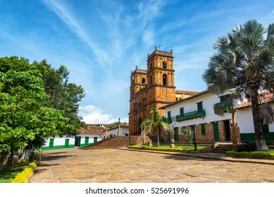Beautiful cathedral in the main plaza in the town of Barichara, Colombia