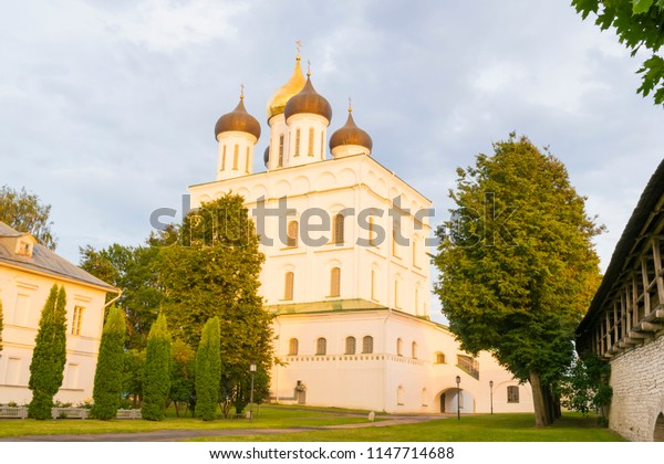 Beautiful cathedral in Pskov, Russia, illuminated by the evening sun.